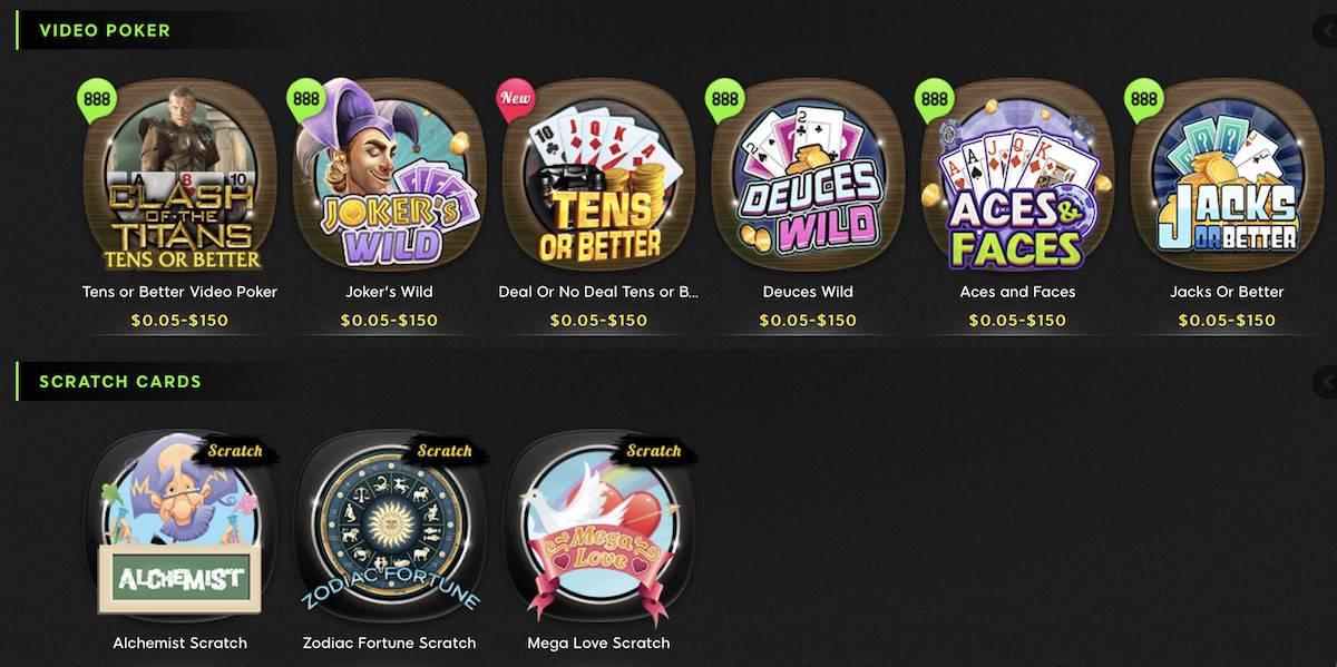 video poker & gratta 888 italia