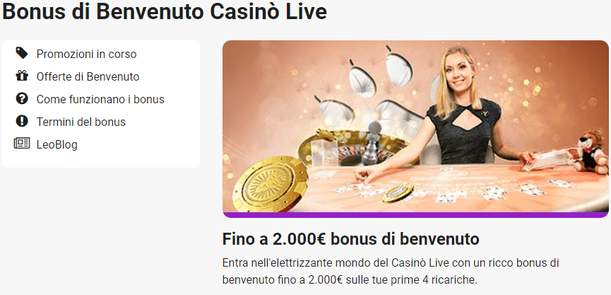 Leovegas bonus benvenuto casino live