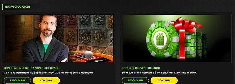Bonus senza deposito di benvenuto 888 casino