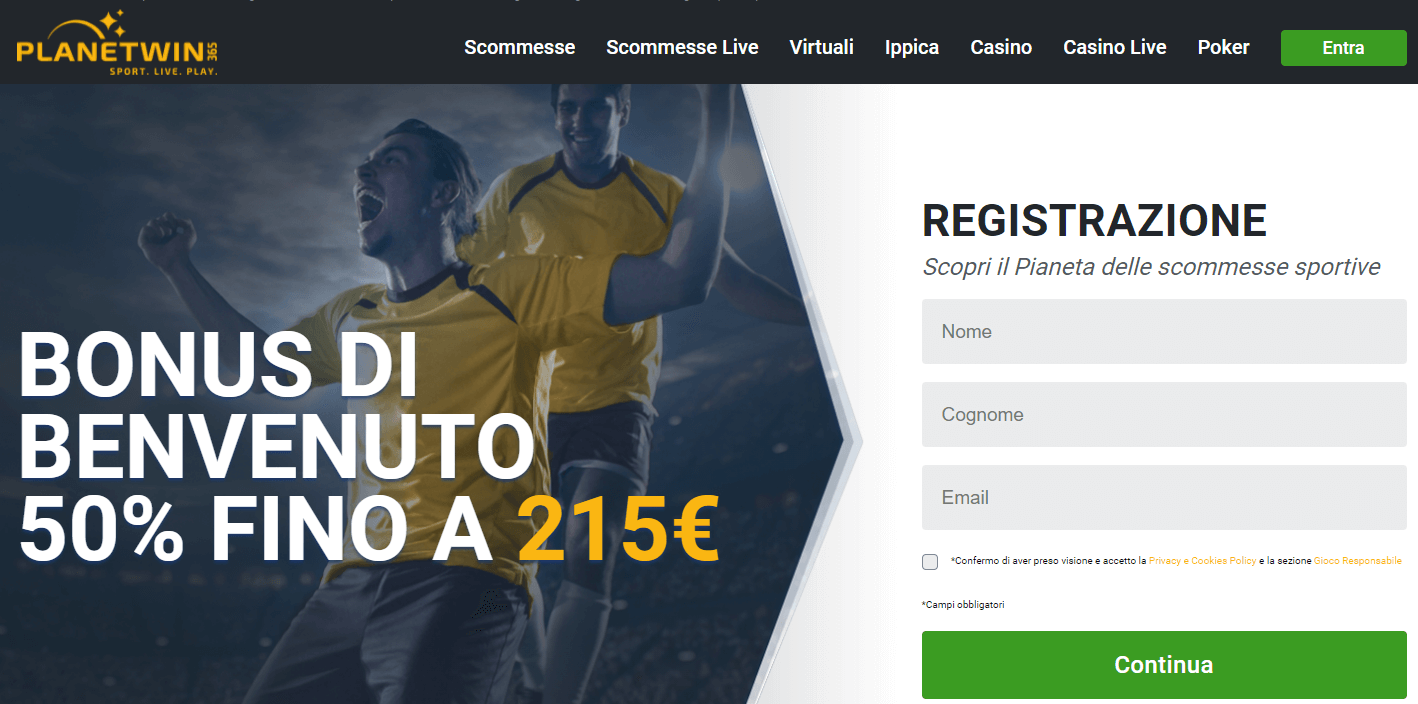 planetwin365 bonus scommesse sportive